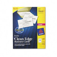 Clean Edge Laser Business Cards, 10/Sheet, 200/Pack