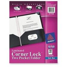Two Pocket Folder, Corner Tabs, Business Card Holder