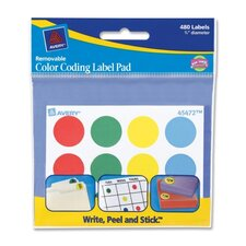 "Color-coding Labels, 3/4"" Round, 480 Labels, Assorted"