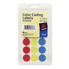 "Color Coding Labels, 3/4"" Dia., Removable, 306 per Pack, Assorted (Set of 5)"