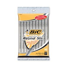 Round Stic Ballpoint Pen,Med. Point,10/PK,Black Ink (Set of 3)