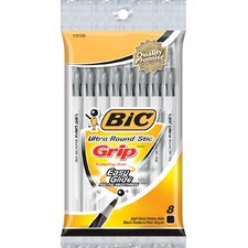 8 Count Round Stick Ultra Grip Ball Pen in Black
