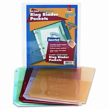 Ring Binder Poly Pockets, 8-1/2 x 11, Assorted Colors, Five per Pack (Set of 2)