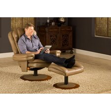 Top Grain Leather Recliner and Ottoman