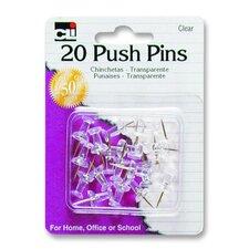 "Push Pins, Plastic, 7/16"", 20/PK, Clear (Set of 8)"