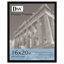 Flat Face Wood Poster Frame with clear plastic window, 16 x 20, Black