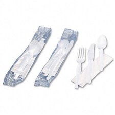 Wrapped Tableware/Napkin Packet, Plastic Utensil Set with Napkin, 250/Carton