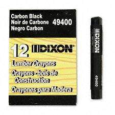 Lumber Crayon, Permanent, Carbon Black, 12 per pack