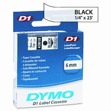 """D1 Standard Tape Cartridge for Label Makers, 0.25"""" x 23'"""