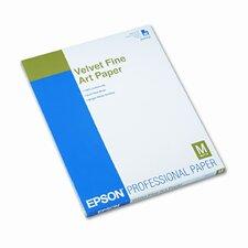 S041636 Velvet Fine Art Paper, Acid-Free Cotton Rag, Letter, White, 20 Sheets