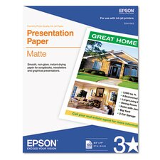 S041062 Matte Presentation Paper, 27 Lbs., 8-1/2 X 11, 100 Sheets/Pack