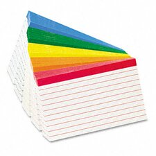 Oxford Color Coded Bar Ruled Index Cards, 100/Pack (Set of 5)