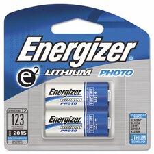 E2 Lithium Photo Battery, 123, 3V, 2/Pack
