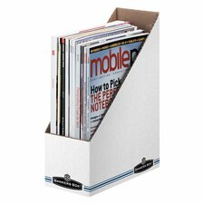 "Economy/Storage Magazine File, 3-7/8""x9-1/4""x11-3/4"", WhiteBlue (Set of 4)"