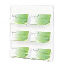 Six-Pocket Wall Mount Business Card Holder, 8-3/8 x 1-1/2 x 9-3/4, Clear