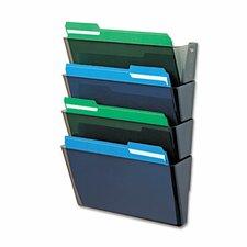 "DocuPocket Four-Pocket Wall Set, Plastic, Letter, 13""w x 4""d x 7""h, Smoke"