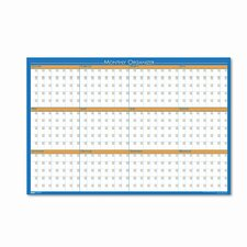 12-Month Laminated Wall Mounted Calendar/Planner Whiteboard, 3' x 2'