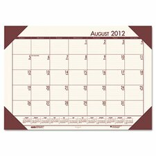 EcoTones Academic Desk Pad Calendar in Cream/ Brown