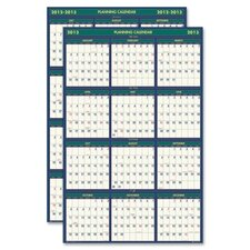 Four Seasons Reversible/Erasable Business/Academic Year Wall Calendar, 24 x 37, 2012