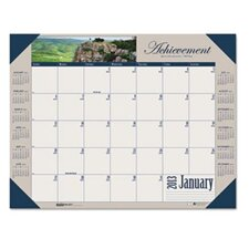 Motivational Photographic Monthly Desk Pad Calendar, 22 x 17