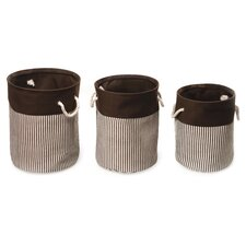 3 Piece Nesting Round Basket & Hamper Set