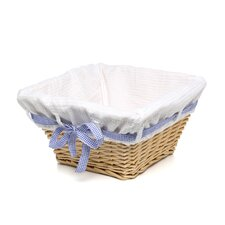Natural Square Nursery Basket with White Waffle Liner (Set of 2)