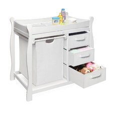 Sleigh Style Baby Change Table with 3 Baskets & Hamper