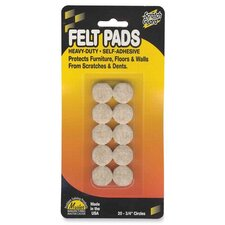 "Felt Pads, 3/4"" Diameter, 20 Circles/PK, Beige (Set of 2)"