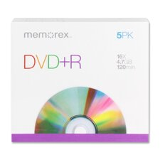 DVD+R, 16X, 4.7GB, Branded w/ Slim Jewel Cases, 5 per Pack (Set of 2)