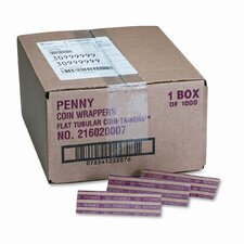 Pop-Open Flat Paper Coin Wrappers, Pennies, 1000 Wrappers/Box (Set of 2)
