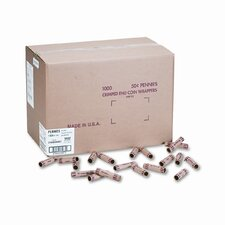 Preformed Tubular Coin Wrappers, Pennies, 1000 Wrappers/Box