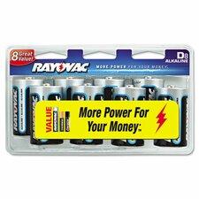 D Alkaline Battery, 8/Pack
