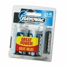 D Alkaline Battery, 4/Pack