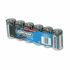 Industrial PLUS Alkaline Batteries, D, 6/Pack