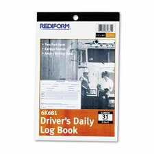 Driver's Daily Log, 5 1/2 X 7 7/8, 31 Sets/Book (Set of 3)