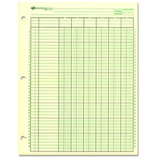 "Analysis Pad, 6 Column, 3 Hole, 1-7/16""W, 11""x8-1/2"", Green"