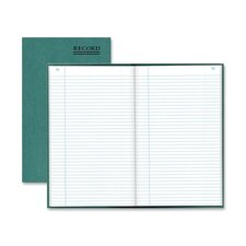"Book W/Margin,Record-Ruled,500 Pages,12-1/4""x7-1/4"",Green"