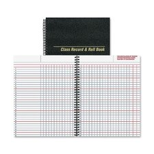 """Class Record And Roll Book, 40 Sheets, 11""""x8-1/2"""", Black"""