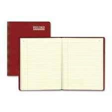"""Record-Ruled Book W/Margin, 150 Page, 10-3/8""""x8-3/8"""", Red"""