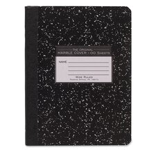 """Composition Book, Wide Rule, 9-3/4""""x7-1/2"""", 100 Sheets, Assorted Marble"""