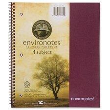 """Wirebound Notebook,1-Sub,11""""x9"""",100 SH,Assorted"""