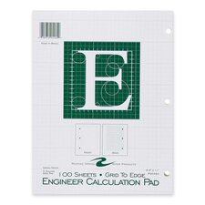 "Engineering Pad,5""x5"" Quad,3HP,100 Shts,11""x8-1/2"",Green"