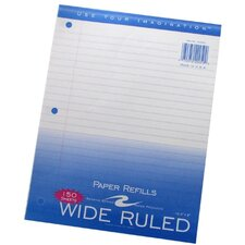 "Filler Paper, 3-Hole Punch, 8""x10-1/2"", Wide Rule, Margin"