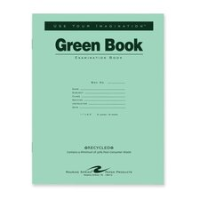 """Exam Book, Wide Ruled, 8/Sheets, 11""""x8-1/2"""", Green (Set of 256)"""