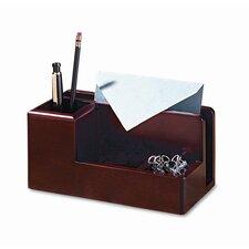 Wood Tones Desk Organizer, Wood, 4 1/4w x 8 3/4d x 4 1/8h, Mahogany