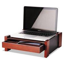 Monitor Stand, Drawer/Cord Organizer, 14 1/2w x 13 1/2d x 5 1/8h, Black/Mahogany