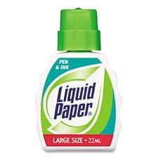 Liquid Paper Pen & Ink Correction Fluid, 22ml Bottle, White (Set of 4)