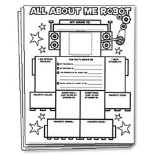 All About Me Robot Graphic Name Tag