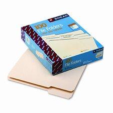 1/3 Cut Assorted One-Ply Top Tab File Folders, 100/Box