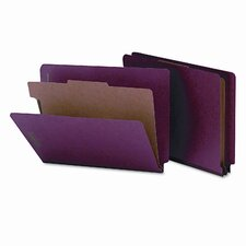 Four-Section Pressboard Classification End Tab Folders, Letter, 10/Box
